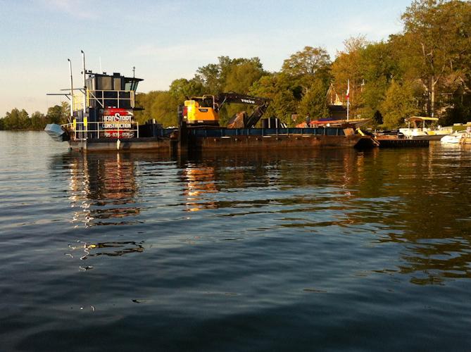 Barge on lake