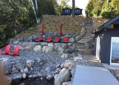 Hardscape, Shoreline and boathouse complete