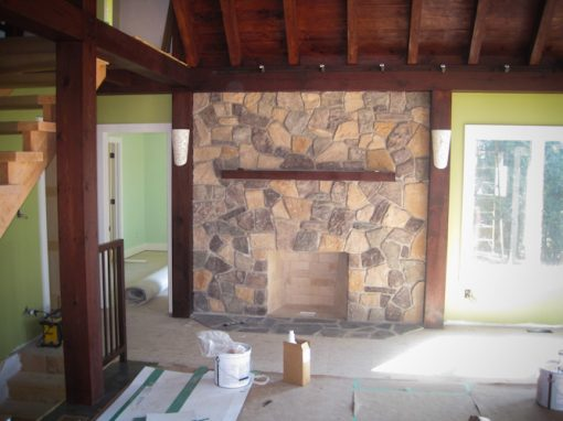 Inside of cottage – Fireplace Completed