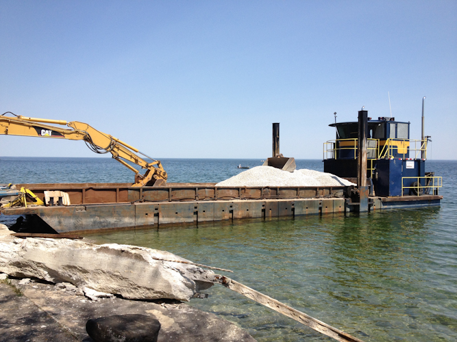 Loading Material on to Barge