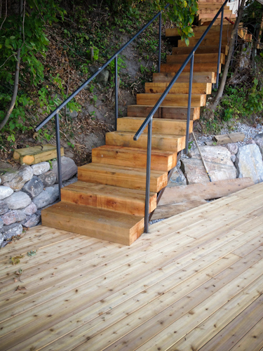 Wood and Steel Stringer Staircase