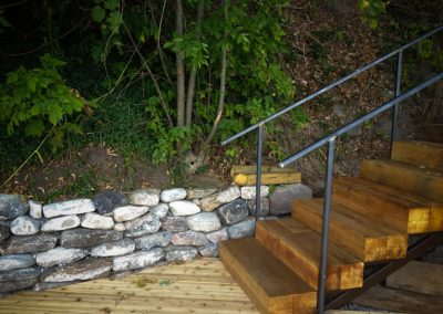 Wood and Steel Stringer Dock Staircase